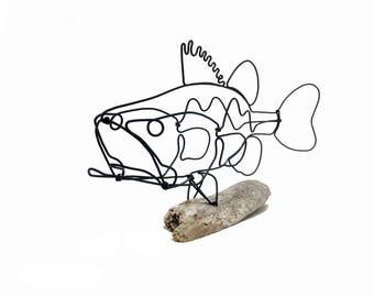 Bass Wire Sculpture, Fish Wire Art, Minimal Design Art, Wire Folk Art, 578216633