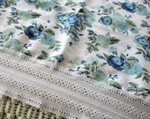 Vintage Queen Flat and Fitted Sheets, Cottage Chic, Floral, Aqua, Teal, Roses, Calico Lace Trim