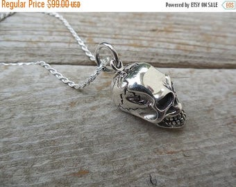 ON SALE Skull necklace handmade in sterling silver 925