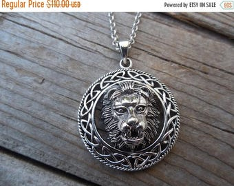 ON SALE Lion necklace with a Celtic border handmade in sterling silver