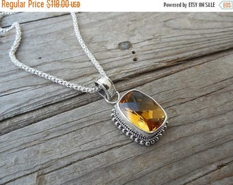 ON SALE Madeira citrine necklace, designed, cast and antiqued in sterling silver 925