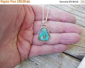 ON SALE Turquoise necklace handmade in sterling silver 925 with beautiful natural Pilot Mountain turquoise stone