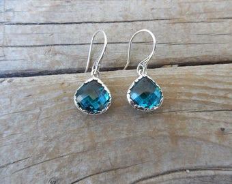 Beautiful London Blue Topaz amethyst earring handmade in sterling silver 925