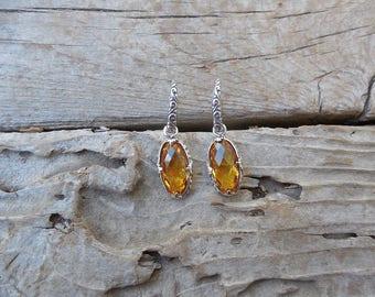 Beautiful Madeira citrine earrings handmade in sterling silver 925