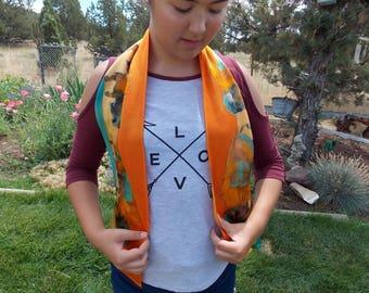 Buffalo Bison Neck Scarf - Hand Painted Silk Scarf - Original Art Scarf - Southwestern Silk Scarf - Western Wear Scarf - Wearable Art Scarf