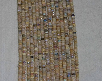 AB, AB Pink Opal, Pink Opal Rondelle, Faceted Rondelle, Natural Gemstone, Peruvian Opal, Sparkle, Full Strand, 4 mm, AdrianasBeads