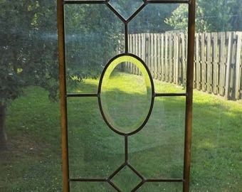 Vintage Stained Glass Window Beveled  Leaded Clear