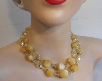 WW2 ENDS SALE Drops of Sunshine at Her Neck - 1950s Lemon Textured Lucite Moonstone & Facet Cut Crystal Vendome 2 Strand Necklace