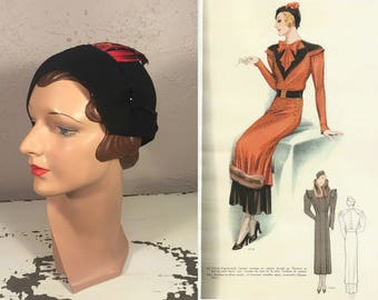 An Arrow Through Her Heart - Vintage 1930s Black Felt Calot Hat w/Red Dart Shaped Feathers