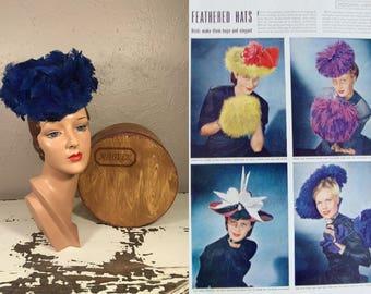 Birds of Prey - Vintage 1940s WW2 Museum Quality Milgrim Royal Blue Feathered Tilt Topper Hat w/Box