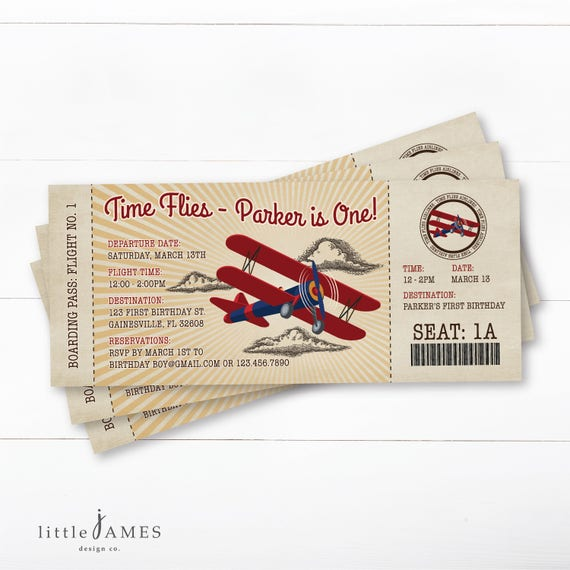 Airplane Ticket Boarding Pass Birthday Invitation: Vintage Airplane Boarding Pass Birthday Invitation Vintage