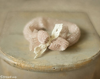Baby Headband, Blush Pink Headband, Newborn Headband, Baby Girl Photo Prop,Newborn Props, RTS, Baby Props, Cotton Bow