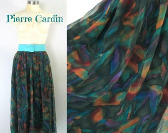 1980s Chiffon Skirt Casual to Formal // Designer Vintage Pierre Cardin