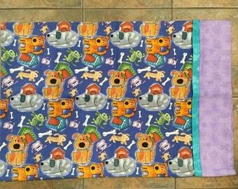 boy's pillowcase, dogs  theme, toddler, juvenile flannel pillowcase, sleepover pillowcase, kids standard pillowcase