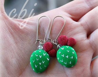 Nopal Earrings, Nopal Dangle Earrings, Cactus Earrings, Cactus Dangle Earrings, Stainless Steel