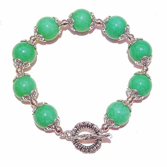 Apple Green Quartz Gemstone Handcrafted Bracelet 21cm