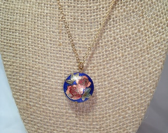 1980s Cobalt Blue with Red and Peach Roses Cloisonné Necklace.