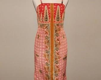 ON SALE Red Indonesian Batik Dress size 8 Bust 34