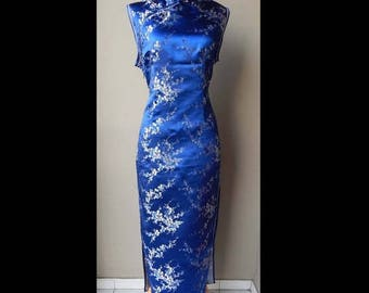 ON SALE Beautiful Blue Brocade Silver Flower Oriental Chinese Cheongsam Dress Bust 40 Waist 32 Hip 40
