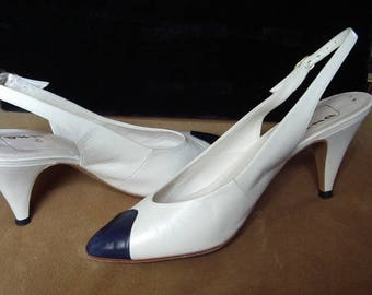 "Navy Toe White Kid ""Chanel"" Style Sling Back High Heel Pumps 7N Item #46 Summer Shoes"