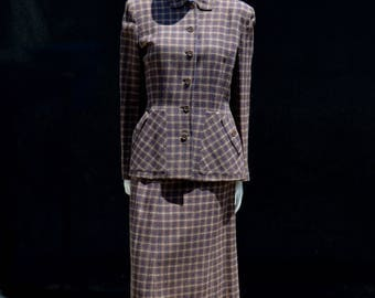 Vintage 40's plaid dress suit WWII era suit skirt and jacket TOWN and COUNTRY size 8 from the metropolitan Dayton by thekaliman