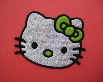 SALE~ Iron-on Patch Hello Kitty Cat (color silver) 2.4 inch
