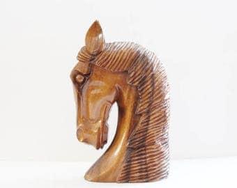 50% half off sale // Vintage 60s Hand Carved Wooden Horse Head Sculpture Bust - Monkey Pod Wood, Hawaii