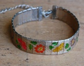Vintage colorful floral 1950s rhodium plated choker