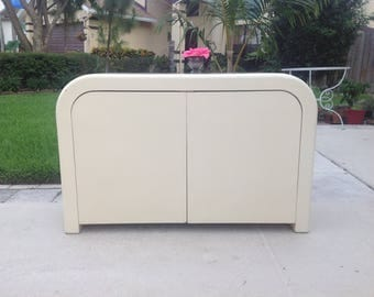 MOD LACQUERED CABINET / Karl Springer Style Waterfall Credenza Cabinet Side Board / Ello Style / Ready for a Re do Retro Daisy Girl