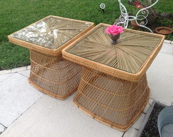 """WOVEN RATTAN SIDE Tables / Pair of Vintage Rattan Side Tables / 25"""" x 25"""" x 24"""" tall / Mid Century Bohemian Style at Retro Daisy Girl"""