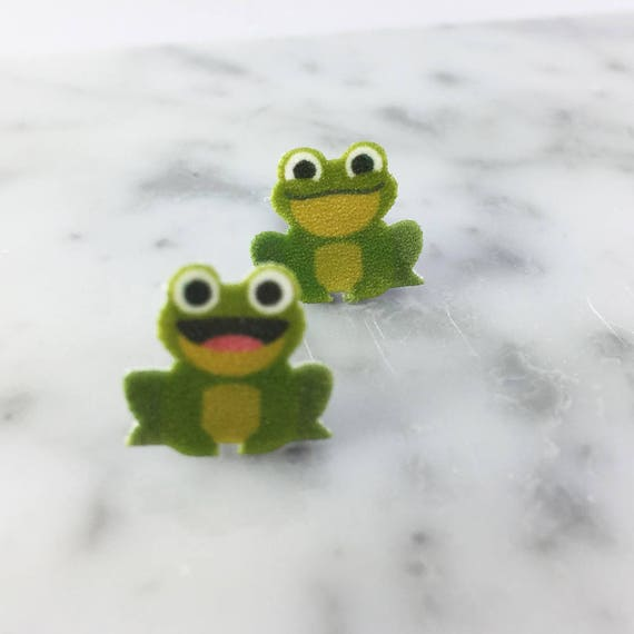 green frog, toad, stud earring, print on plastic, shrink plastic, stainless stud, handmade, les perles rares