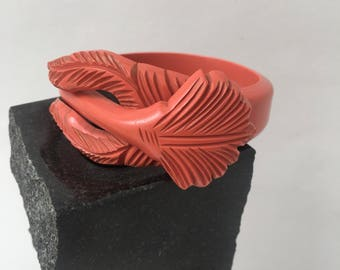 1930s Coral Carved Celluloid Clamper Bracelet