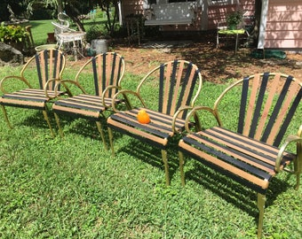 GOLD ALUMINUM PATIO Chairs, Set of 4, Black and Orange Patio Chairs, Gold Tone Aluminum Chairs, Mid Century Modern at Modern Logic