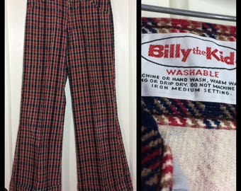 1970s plaid Billy the Kid wide flare cuffed bell bottom plaid corduroy jeans 27x26 boy's teen size blue red brown Talon zipper