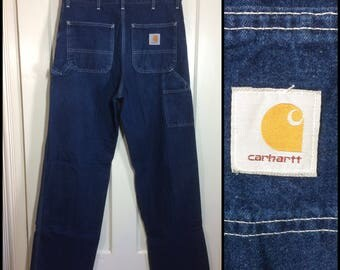 1980's Carhartt carpenter work painter's pants blue denim jeans 34x34, measures 33x33 made in USA
