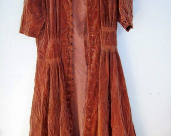 Antique womans brown Velvet Dress