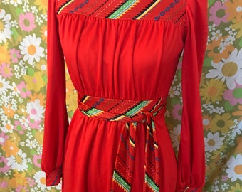 Vintage 70s polyester bright cherry red belted dress with southwestern print accents