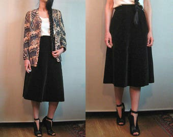 60s Black Velvet Skirt / 1960s Paneled Velvet Skirt / High Waist Black Velvet Skirt