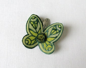 Green silk butterfly hair snap clip -  hand painted natural silk butterfly - snap pin - green tones natural hand painted silk