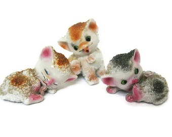 Vintage Ceramic Kittens  /  Made in Japan  /  Sugar Coated Figurines  /  Tree Little Kittens  / Cats in Brown and Gray for Display