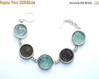 Summer Sale Stunning One of A Kind  Ancient Roman Glass 925 Silver CONSTANTINE  Coins Bracelet