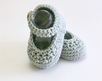 Mary Jane Knitted Baby Shoes in Duck Egg Merino Wool