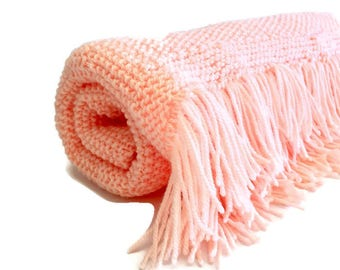 Knitted Peach Baby Blanket Shawl