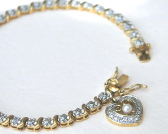 Jewelry / Vintage Rhinestone Tennis Bracelet / Safety Clasp / Rhinestone Bangle / Gift for Her / Graduation Gift / Jewelry / Heart Bangle