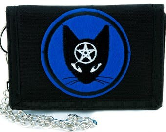 Witchy Black Cat Pentagram Tri-fold Wallet with Chain Alternative Clothing - YDS-PA-634-WALLET
