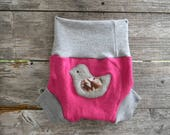 Upcycled Merino Wool Soaker Cover Diaper Cover With Added Doubler Hot Pink/ Gray With Birdy Applique LARGE 12-24M Kidsgogreen