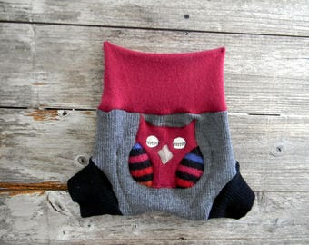 Upcycled Wool /Cashmere Soaker Cover Diaper Cover With Added Doubler Gray/ Black/ Burgundy  With Owl Applique  LARGE 12-24M  Kidsgogreen