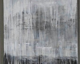 Abstract Gray Painting, 30 x 40 Large Neutral Canvas, Modern Minimalist Landscape