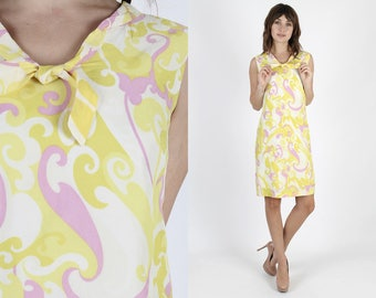 Mod Dress 60s Dress Shift Dress Pastel Dress Scooter Dress 1960s Dress Vintage Paisley Dress Boho Bow Tie Mini Day Party Mini Dress S