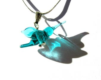 Blue hummingbird, glass pendant, 16 inch necklace